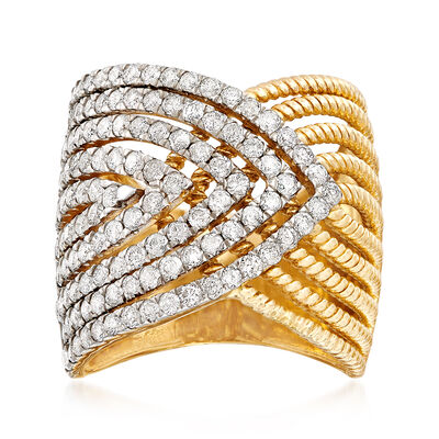 2.00 ct. t.w. Diamond Multi-Row Crossover Ring in 14kt Yellow Gold, , default
