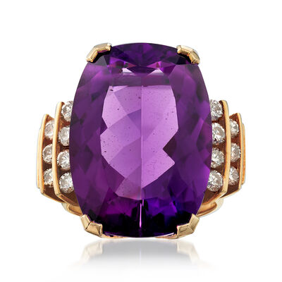 C. 1970 Vintage 18.50 Carat Amethyst and .85 ct. t.w. Diamond Ring in 14kt Yellow Gold, , default