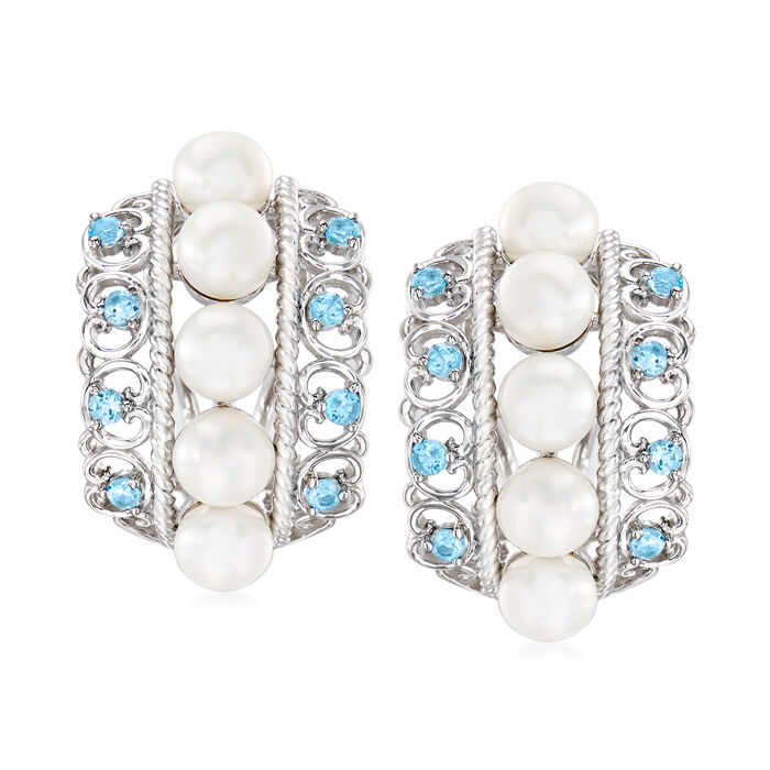 5.5-6mm Cultured Pearl and .60 ct. t.w. Sky Blue Topaz Earrings in Sterling Silver, , default