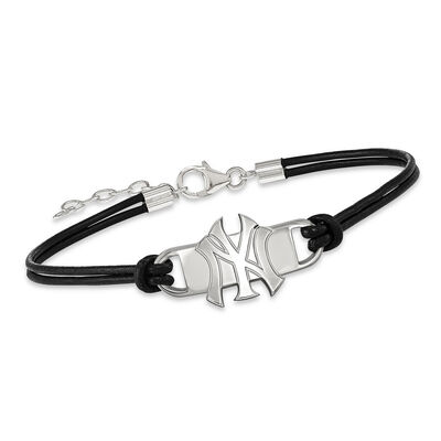 "Sterling Silver MLB New York Yankees Small Center Leather Bracelet. 7"", , default"