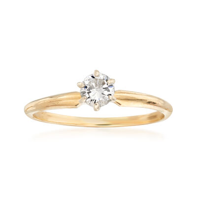 C. 1990 Vintage .25 Carat Diamond Solitaire Ring in 14kt Yellow Gold, , default