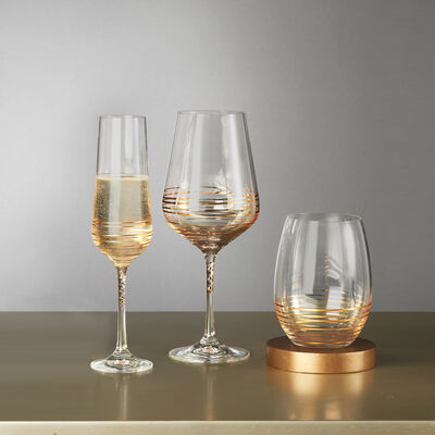 "Mikasa ""Electric Boulevard"" Gold-Painted Crystal Drinkware"