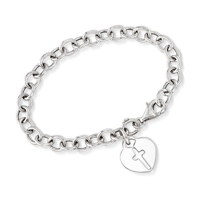Italian Sterling Silver Heart and Cross Charm Bracelet, , default