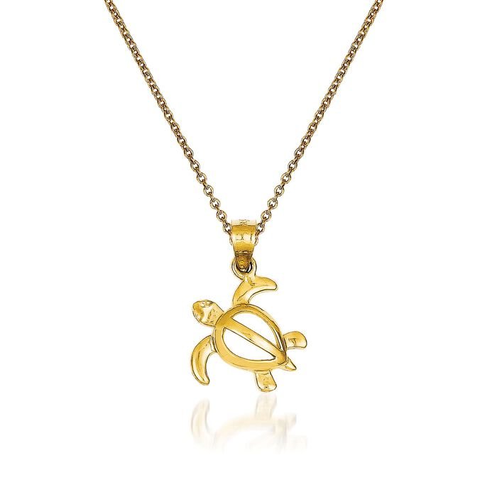 14kt Yellow Gold Turtle Pendant Necklace. 18""