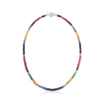 Multi-Gem Rondelle Bead Necklace with Sterling Silver