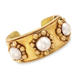 C. 1980 Vintage 15mm Mabe Pearl Cuff Bracelet in 18kt Yellow Gold, , default