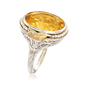 C. 1950 Vintage 8.50 Carat Citrine and Cultured Seed Pearl Ring in 14kt Two-Tone Gold. Size 6.5