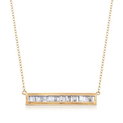 .50 ct. t.w. Baguette Diamond Bar Necklace in 14kt Yellow Gold, , default