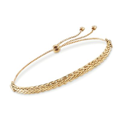 18kt Yellow Gold Flat Wheat-Link Bolo Bracelet, , default