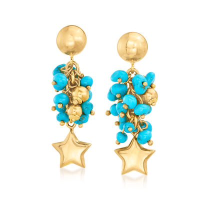 C. 1990 Vintage Howlite Beaded Star Drop Earrings in 18kt Yellow Gold