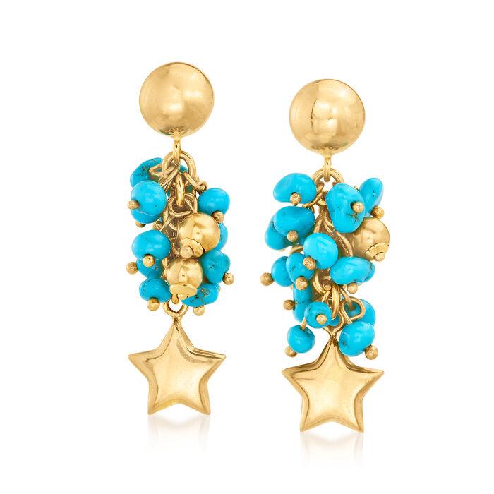 C. 1990 Vintage Howlite Beaded Star Drop Earrings in 18kt Yellow Gold