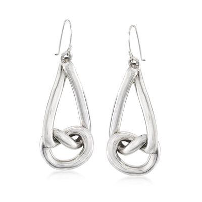 Sterling Silver Teardrop Knot Drop Earrings, , default