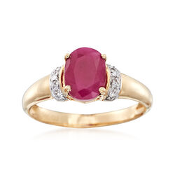 1.60 Carat Burmese Ruby Ring With Diamond Accents in 14kt Yellow Gold, , default