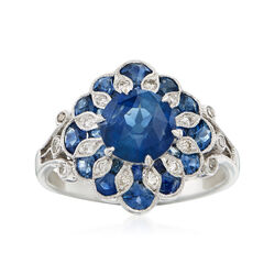 C. 2000 Vintage 2.60 ct. t.w. Sapphire and .20 ct. t.w. Diamond Cocktail Ring in 14kt White Gold, , default