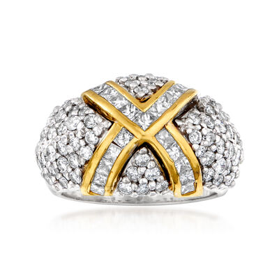 C. 1980 Vintage 3.40 ct. t.w. Diamond X Dome Ring in 18kt Two-Tone Gold