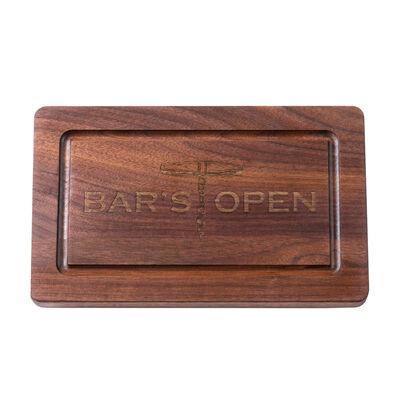 """Bar's Open"" Rectangular Black Walnut Cutting Board, , default"