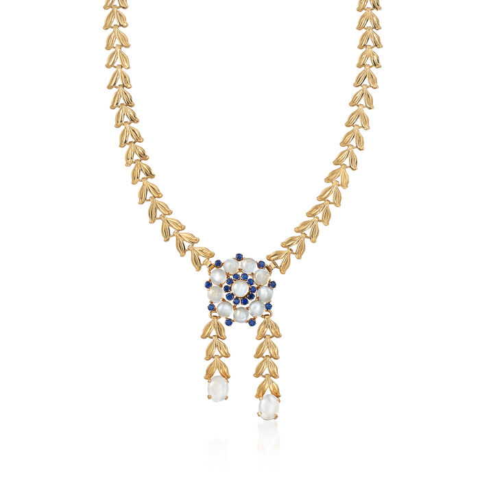 "C. 1970 Vintage Moonstone and 1.90 ct. t.w. Sapphire Flower Necklace in 14kt Yellow Gold. 16"", , default"