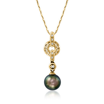 C. 1990 Vintage Black Cultured Pearl and Diamond-Accented Pendant Necklace in 14kt Yellow Gold