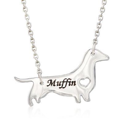 Sterling Silver Dachshund Dog Name Necklace, , default