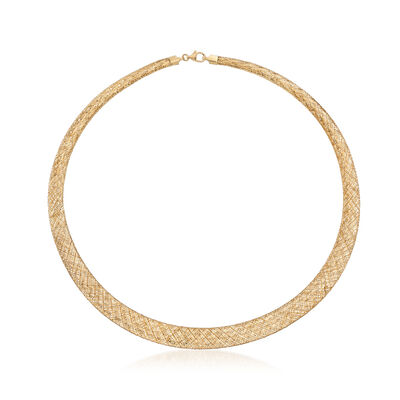 Italian 18kt Yellow Gold Graduated Mesh Collar Necklace, , default