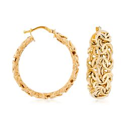 "Italian 14kt Yellow Gold Byzantine Hoop Earrings. 1 1/4"", , default"