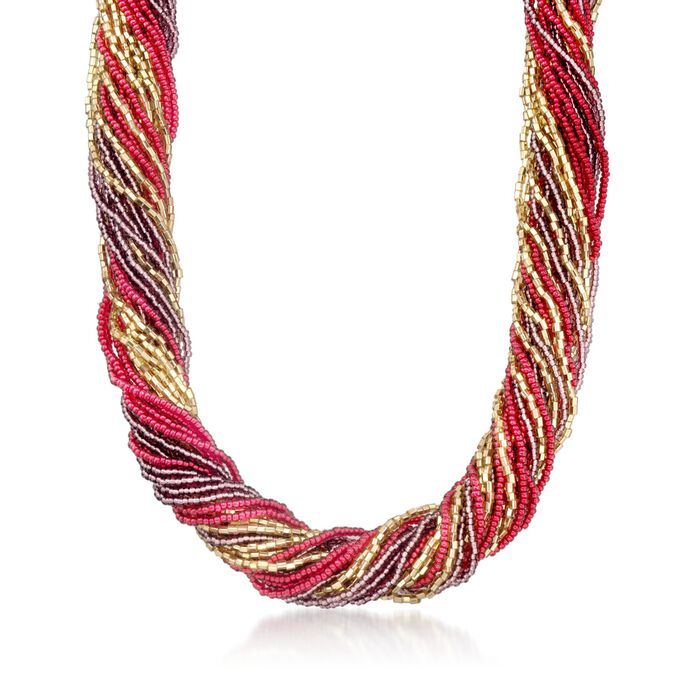 Italian Red and Purple Murano Glass Bead Torsade Necklace with 18kt Gold Over Sterling, , default