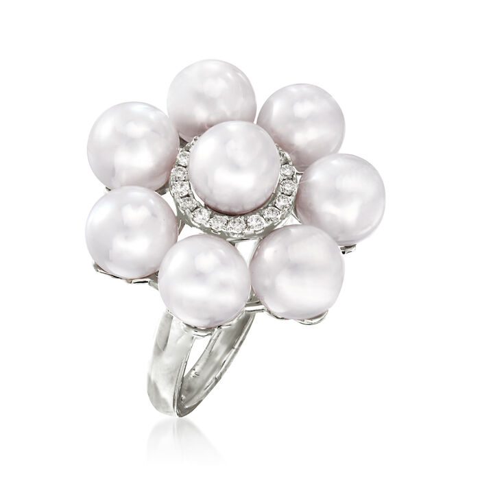 6.5-7mm Cultured Pearl and .15 ct. t.w. Diamond Floral Ring in 14kt White Gold