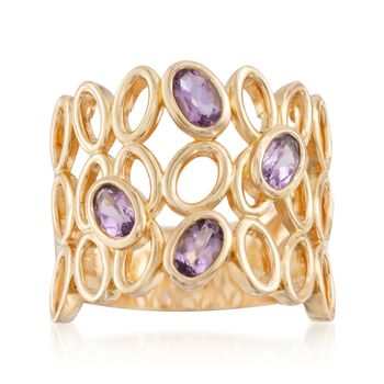 .70 ct. t.w. Amethyst Open Bezel Ring in 18kt Gold Over Sterling, , default