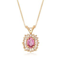 "C. 1990 Vintage .50 Carat Pink Sapphire and .30 ct. t.w. Diamond Pendant Necklace in 14kt Yellow Gold. 18"", , default"