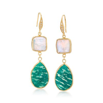 11mm Cultured Pearl and Amazonite Earrings with White Topaz Accents in 18kt Gold Over Sterling, , default
