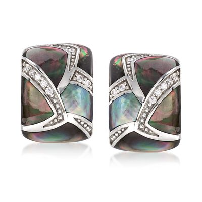 "Belle Etoile ""Sirena"" Black Mother-Of-Pearl and .20 ct. t.w. CZ Earrings in Sterling Silver"