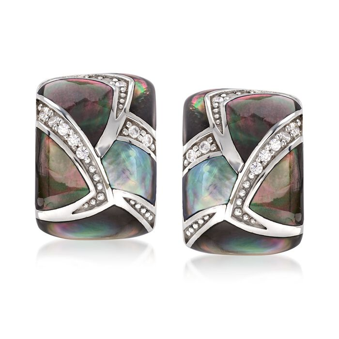 """Belle Etoile """"Sirena"""" Black Mother-Of-Pearl and .20 ct. t.w. CZ Earrings in Sterling Silver, , default"""