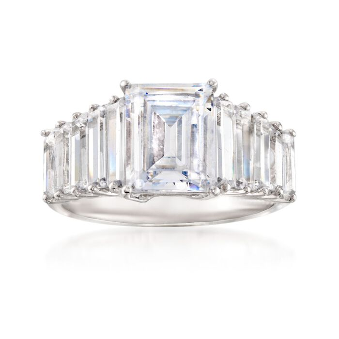 4.07 ct. t.w. CZ Ring in Sterling Silver, , default