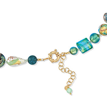 Italian Green and Blue Murano Glass Bead Necklace with 18kt Gold Over Sterling, , default
