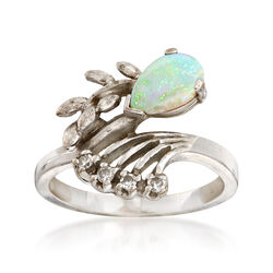 C. 1970 Vintage Opal and .10 ct. t.w. Diamond Ring in 14kt White Gold. Size 6, , default