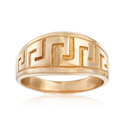 C. 1990 Vintage 14kt Yellow Gold Greek Key Wide Band Ring, , default