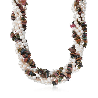 220.00 ct. t.w. Multicolored Tourmaline and 5-6mm Cultured Pearl Torsade Necklace in Sterling Silver, , default