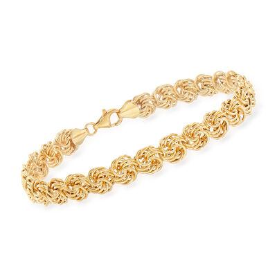 14kt Yellow Gold Rosette-Link Bracelet, , default