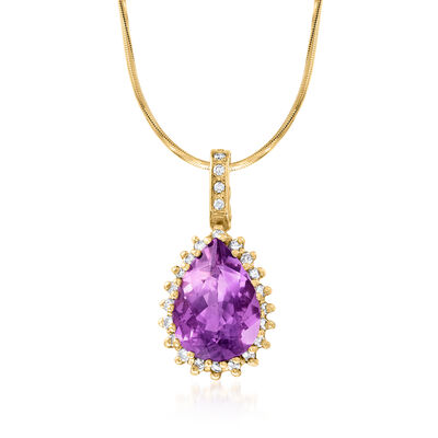 C. 1990 Vintage 10.50 Carat Amethyst and .75 ct. t.w. Diamond Pendant Necklace in 14kt Yellow Gold