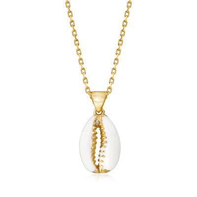 Puka Shell Pendant Necklace in 18kt Gold Over Sterling with White Enamel