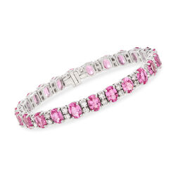 20.00 ct. t.w. Pink Sapphire and 2.35 ct. t.w. Diamond Bracelet in 14kt White Gold , , default