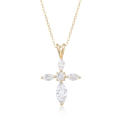 2.00 ct. t.w. Marquise and Round CZ Cross Pendant Necklace in 14kt Yellow Gold, , default