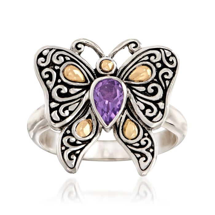 .40 Carat Amethyst Bali-Style Butterfly Ring in Sterling Silver and 18kt Yellow Gold
