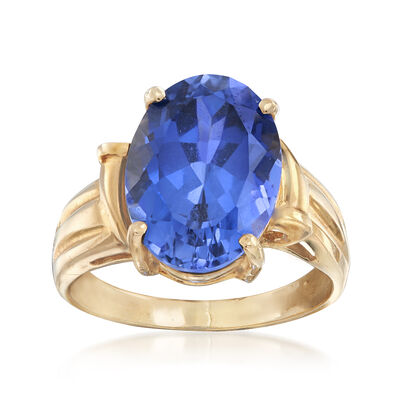 C. 1980 Vintage 8.65 Carat Synthetic Sapphire Ring in 10kt Yellow Gold, , default