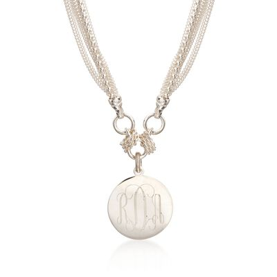 Sterling Silver Monogram Disc Multi-Strand Necklace  , , default