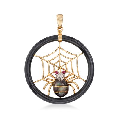 Black Mother-Of-Pearl Spider and Web Pendant With Ruby and Diamond Accents in 14kt Gold, , default