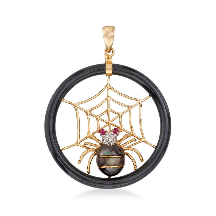 Black Mother-Of-Pearl Spider and Web Pendant With Ruby and Diamond Accents in 14kt Gold , , default