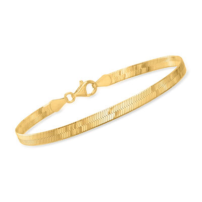 Italian 18kt Gold Over Sterling Herringbone Bracelet