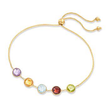 3.50 ct. t.w. Bezel-Set Multi-Stone Bolo Bracelet in 14kt Yellow Gold, , default