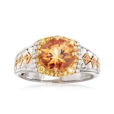 3.00 Carat Orange Topaz and .31 ct. t.w. Yellow and White Diamond Ring in 18kt Two-Tone Gold